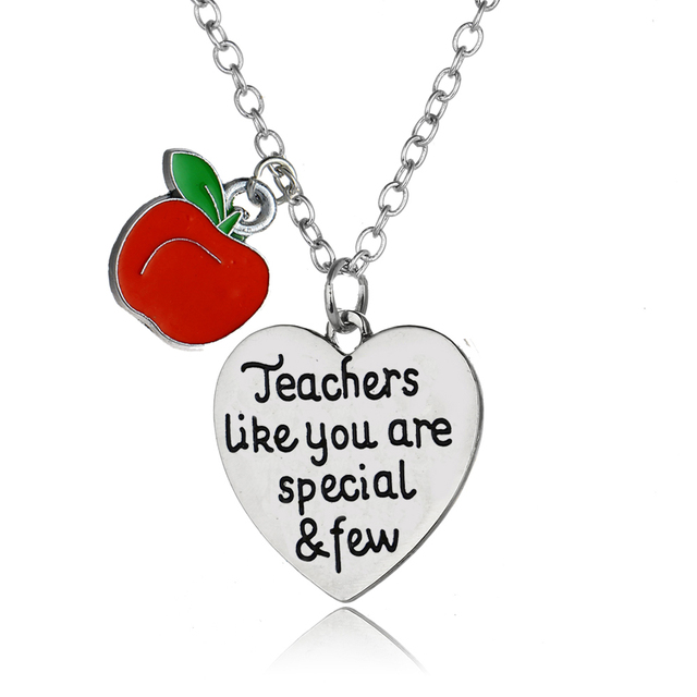 Love heart apple pendant necklace teachers gifts necklace for best love heart apple pendant necklace teachers gifts necklace for best teacher teaching assistant nursery teacher aloadofball Images