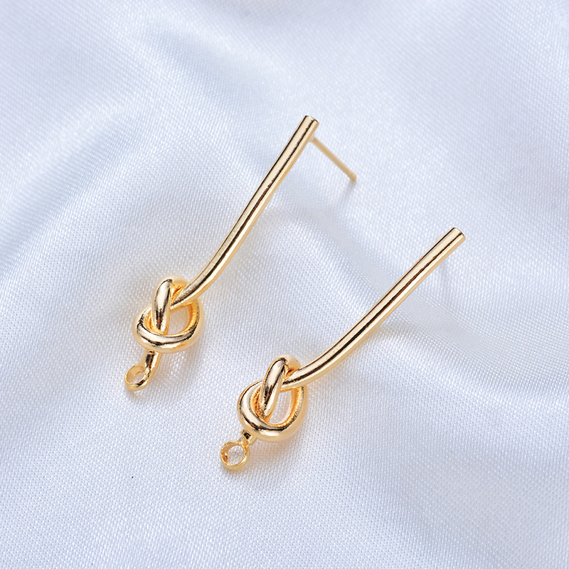 (116)4PCS 27MM 35MM 24K Gold Color Plated Brass Long Line with Knot Stud Earrings High Quality DIY Jewelry Making Findings 1