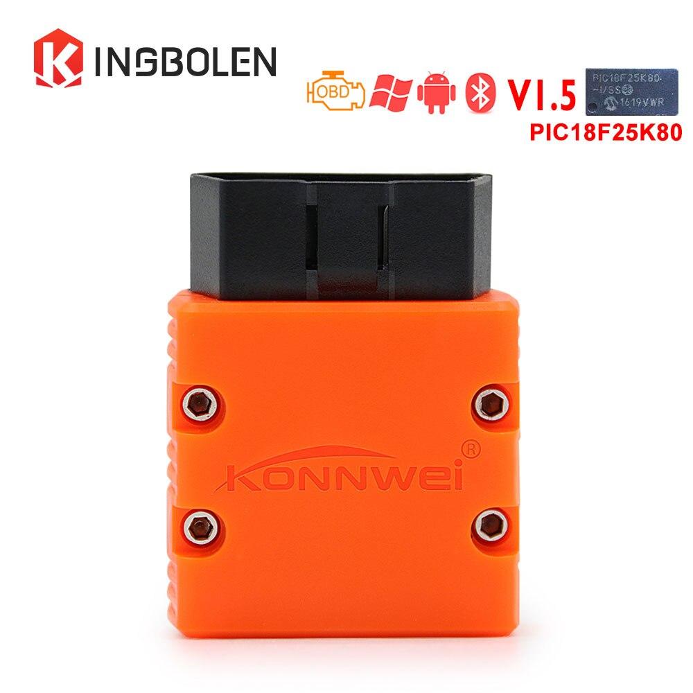 KONNWEI KW902 Bluetooth ELM327 V1.5 Chip PIC18f25k80 OBDII Code Reader ELM 327 Diagnostic Tool Works On Android PC 16Pin Kw 902 digimotor real elm327 v1 5 bluetooth obd2 elm 327 v 1 5 obdii code reader diagnostic tool mini scanner obd 2 car diagnostic tool