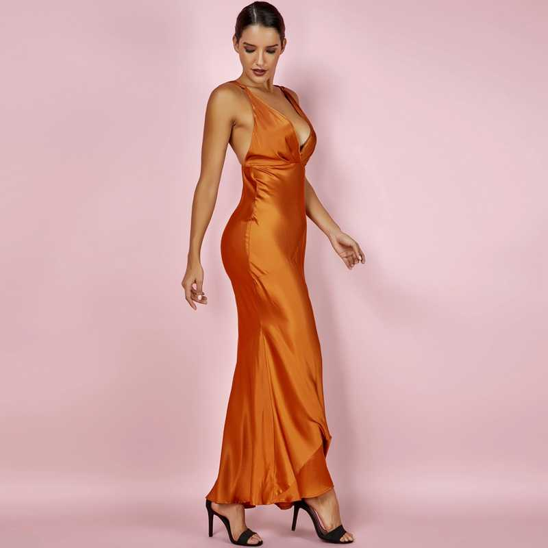 ceea426918ffc ... Ocstrade New Fashion Long Maxi Women Dresses 2018 New in Summer Deep v  Sexy Bronze Satin ...