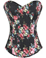 Hot Selling Overbust Corsets Boned Bustiers Floral Print Women Sexy Lingerie Twin Set 5 Colors S--XXL