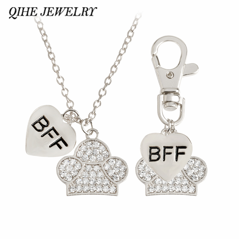 QIHE JEWELRY 2pcs/set Heart & Paw Charm Necklace And Collar Dog-Human Best Friends Necklace BFF Jewelry Dog Cat Pet Jewelry
