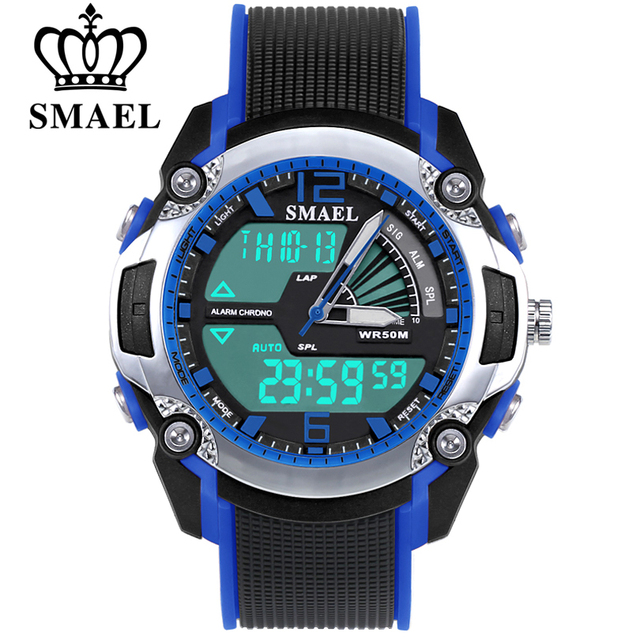 SMAEL Fashion Children Sport Watches Waterproof Analoge LED Watch Digital Studen