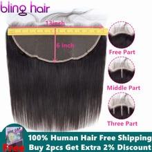 Bling Hair 13x6 Lace Frontal Closure Peruvian Straight Human Hair Clos