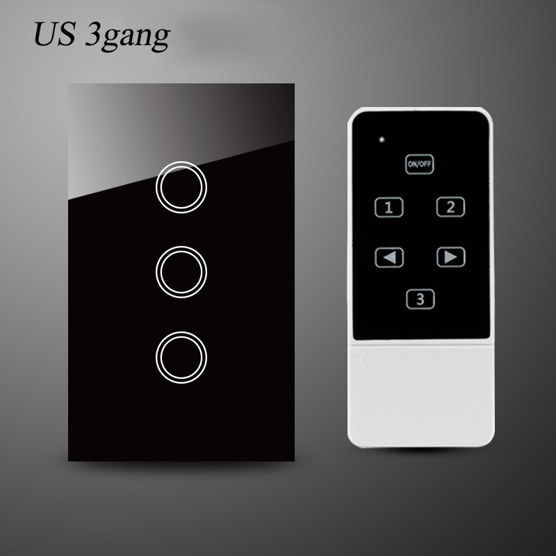 us au standard smart home remote control switch 3gang 1way wall light switch-black