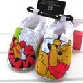 1 par de varejo rosa doce padrão frist walker para os bebés sapatos da criança dos desenhos animados com preço etiqueta do tamanho 2,3,