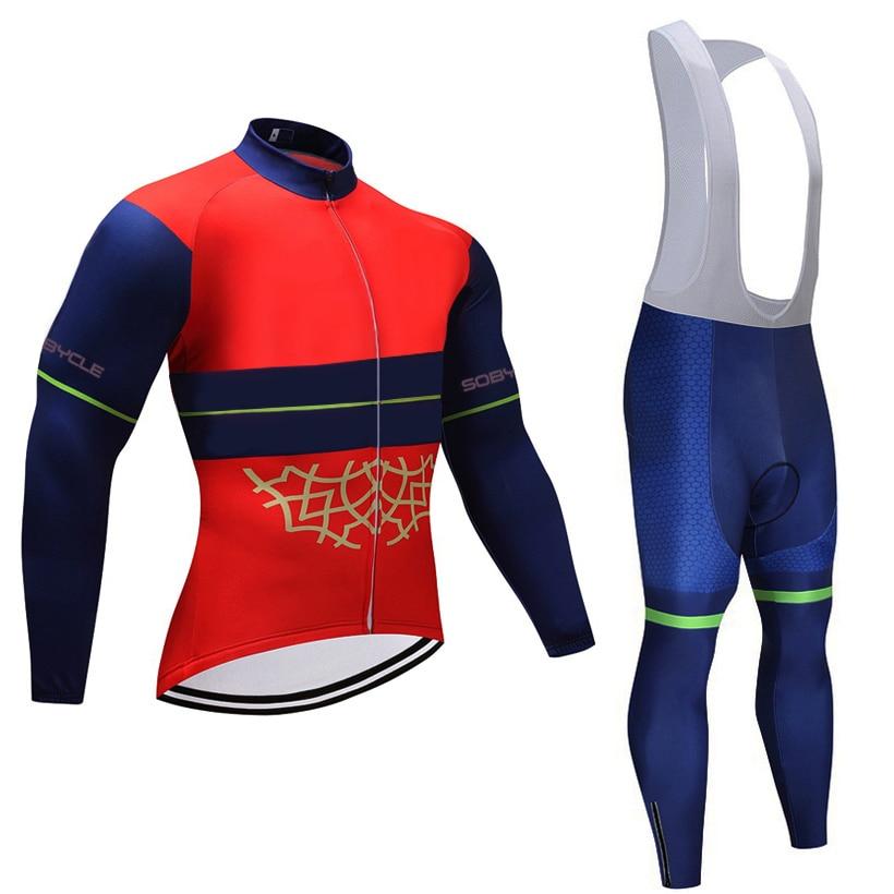 2018 RED cycling pro bike jersey 9D gel pad bike pants set Orange MTB Ropa Ciclismo mens long sleeves cycling tops Maillot wear
