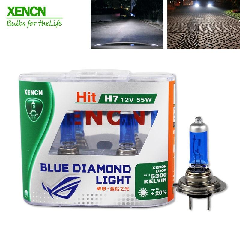 XENCN H7 12V 55W 5300K Xenon Blue Diamond Light Car Headlight Halogen Bulb Xenon Ultimate White Head Lamp for vw polo land rover xencn 9008 h13 12v 60 55w 5300k blue diamond light car bulbs headlight xenon look halogen lamp for chevrolet cruze hummer