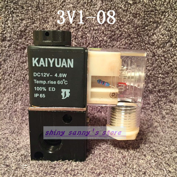 1Pcs 3V1-08 24V DC 3Port 2Position 1/4 BSP Normally Closed Solenoid Air Valve Coil LED