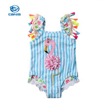 New Toddler Kids Baby Girls Swimwear Flamingo Strip One-Piece Tassels Bikini Set Swimsuit Bathing Suit Beach Monokini цена