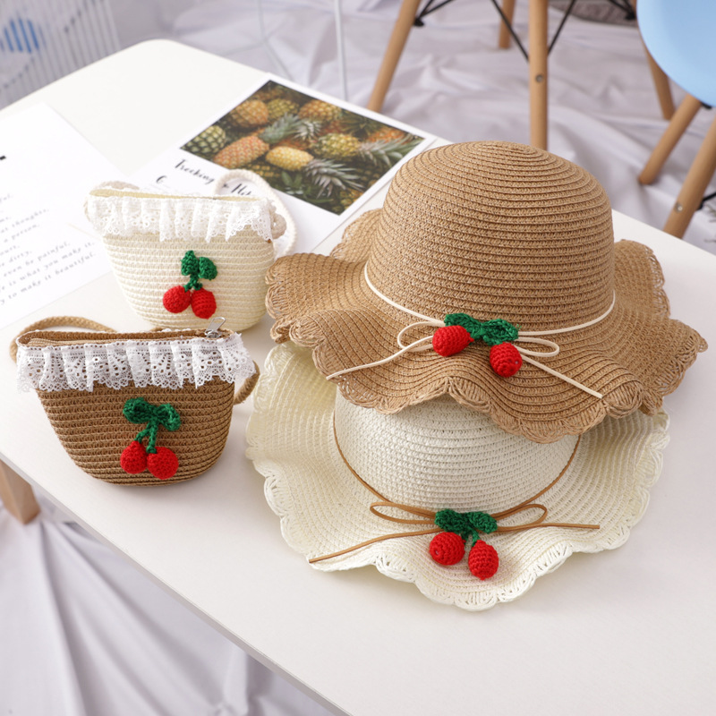 Summer new girls cute cherry decorative straw hat Children's bag princess outdoor beach straw hat(China)