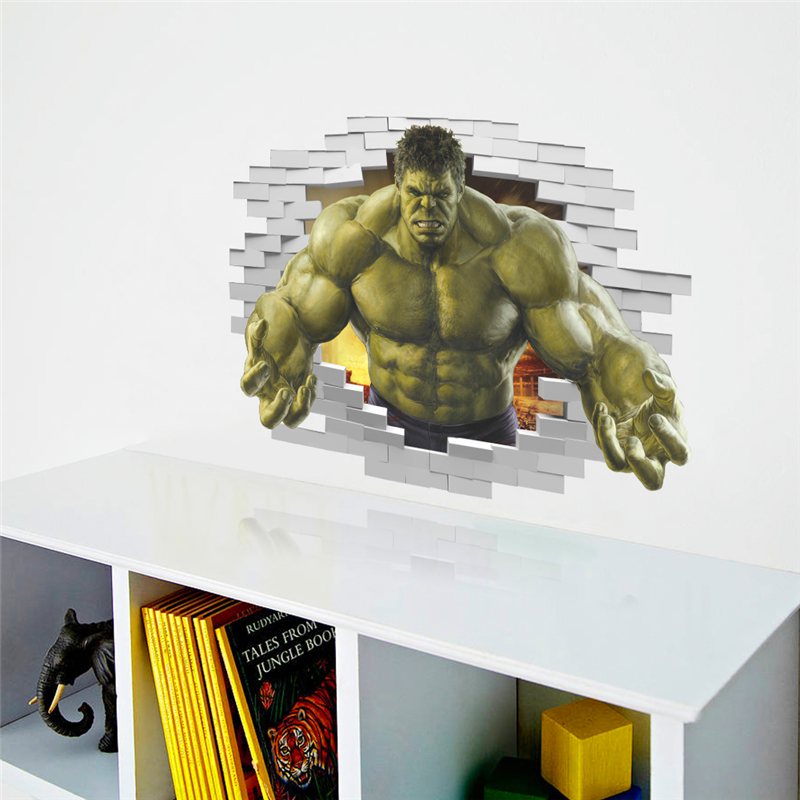 HTB1zMtVQpXXXXXCaXXXq6xXFXXXH - violent Avengers Hulk Peel through wall sticker for kids rooms