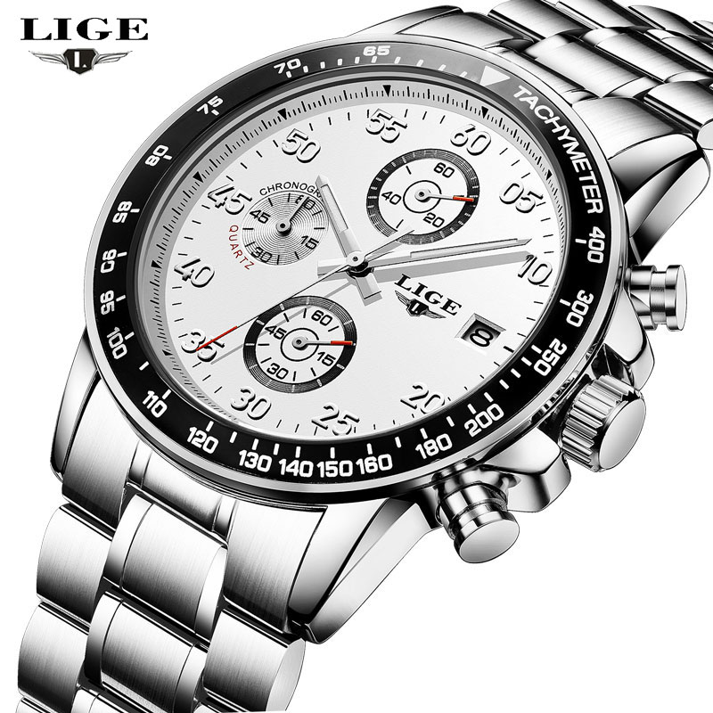 LIGE Men's Watches Top Brand Luxury Men Sports Quartz Watch Man Multifunction Date Full Steel Waterproof Clock Relogio Masculino lige new men watches top brand luxury men s fashion sport quartz watch man multifunction date waterproof clock relogio masculino