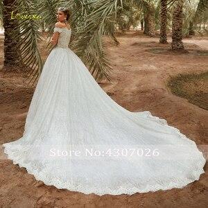 Image 2 - Vestido de novia de Loverxu vestido de novia brillante vestido de novia con apliques elegantes 2019 vestido de novia de tren de catedral