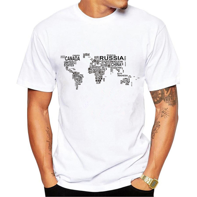 English spelled world map t shirt men creative design print t shirts english spelled world map t shirt men creative design print t shirts short sleeve summer gumiabroncs Image collections