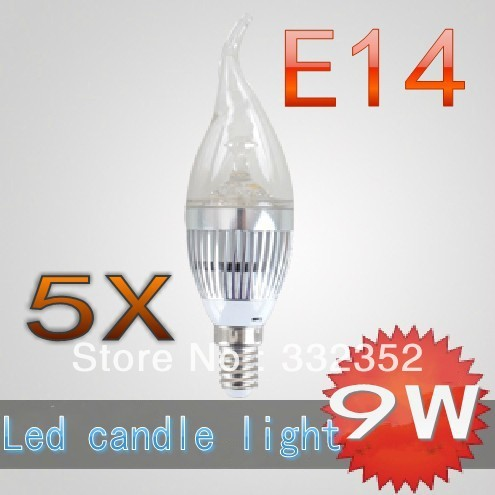 CREE Shipping High power 5X E14 3x3W 9W Dimmable AC85~265V LED Candel Light LED bulb lamp LED spotlight