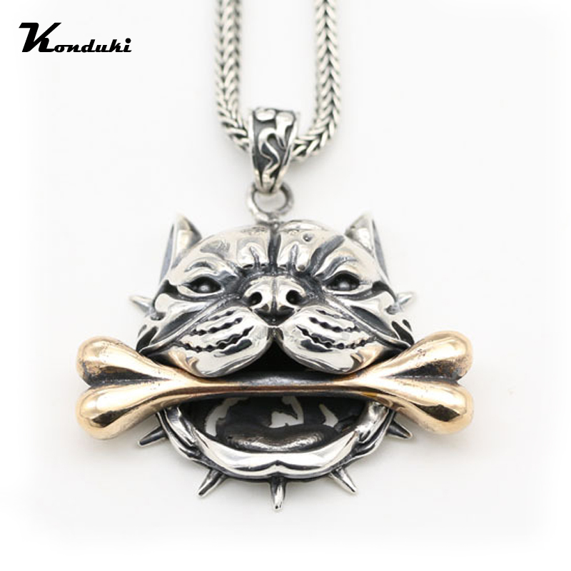 Retro Classic S925 Sterling Silver Ancient silver Dog Licking Bone Pendant For Men Gift Punk Pendant Necklace Jewelry Accessorie s925 anchor pendant silver pendant chain retro punk pirate men