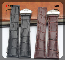 22mm (Buckle 18mm)Top-Grade Stainless Steel buckle Black/Brown Crocodile pattern Genuine Leather Watchbands BANDS Strap