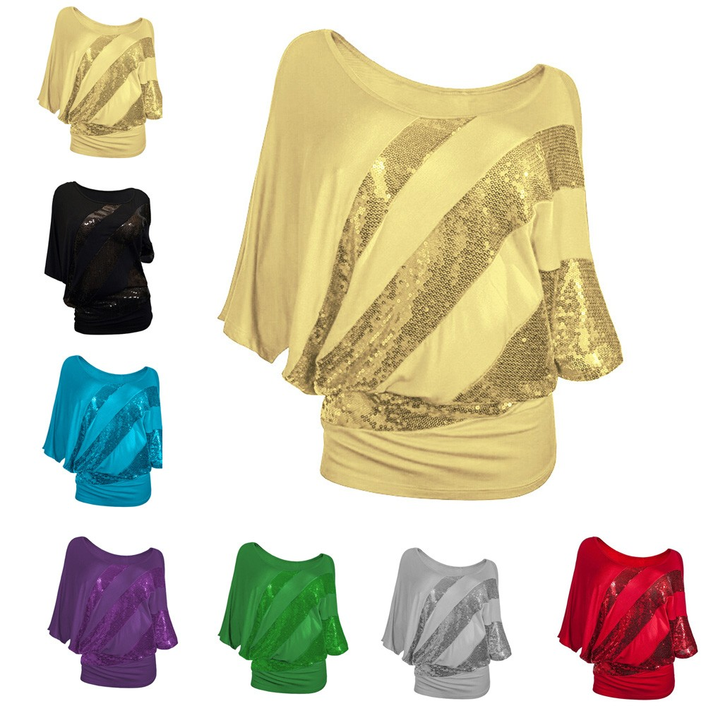 Women Sequin Causel T-Shirt Top Plus Size S-3XL Womens summer clothing t shirt femme in Black Blue Green Gray Purple Red Yellow