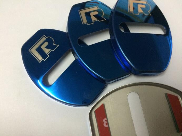 Blue r logo door lock buckle protective cover sticker fit for vw golf 7 mk7 tiguan sagitar in car stickers from automobiles motorcycles on aliexpress com