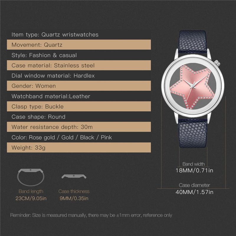 Luxury Brand Quartz Watch Women Creative Hollow Star Dial Ladies Watches Designer Rhinestone Dress Wrist watch Rose Gold Pink 30 6