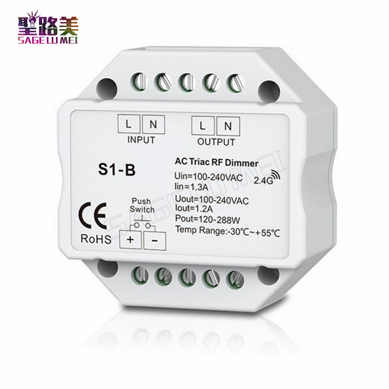 цена на S1-B Led Triac RF Dimmer Controller use with R1 Remote 2.4GHz Wireless input 100-240V AC 1A 100W-288W Push Dimmer LED Switch