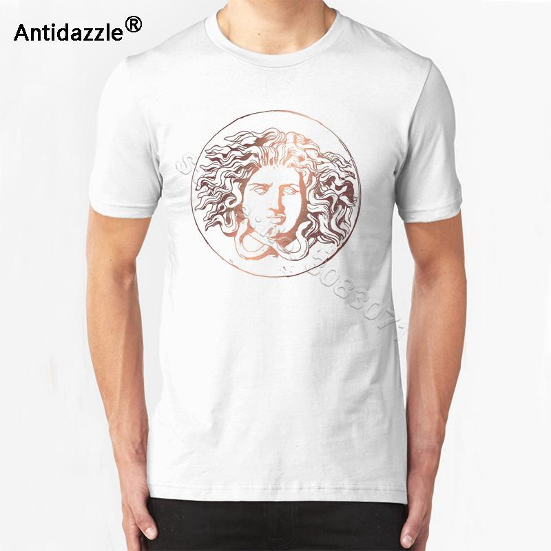 Antidazzle 2017 Customize Original New Brand Rose Gold-like Medusa Printed Casual Short Sleeve T Shirt Men's T-shirt Male Punk