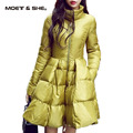 New Fashion Women Winter Down Jackets Long Slim Coat And Jacket Female Big Swing Yellow/black Ladies Snow Outwear C6N385Y
