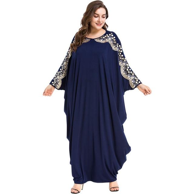 Long Muslim Dress Loose Islamic Abayas Dubai Women Clothing Turkish Kaftan Turkey Arab Robe 1
