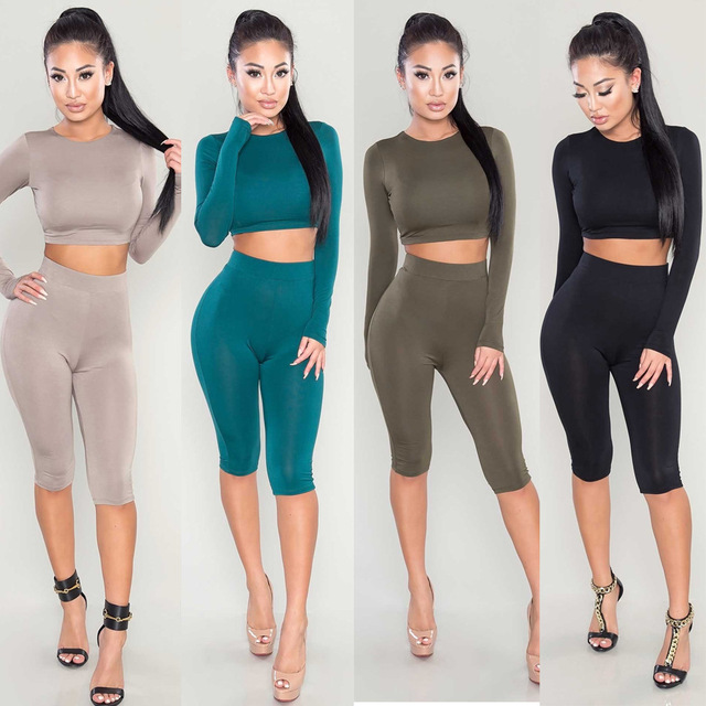 b1c6d09d9f US $9.95 7% OFF Aliexpress.com : Buy Solid Long Sleeve Round Neck Crop Top  and Shorts Set from Reliable top and shorts set suppliers on LisVintion ...
