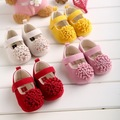 4 Colors Newborn Baby Prewalker Soft Bottom Anti-slip Shoes Footwear Classic Princess Girl Crib Mary Jane floral Shoes