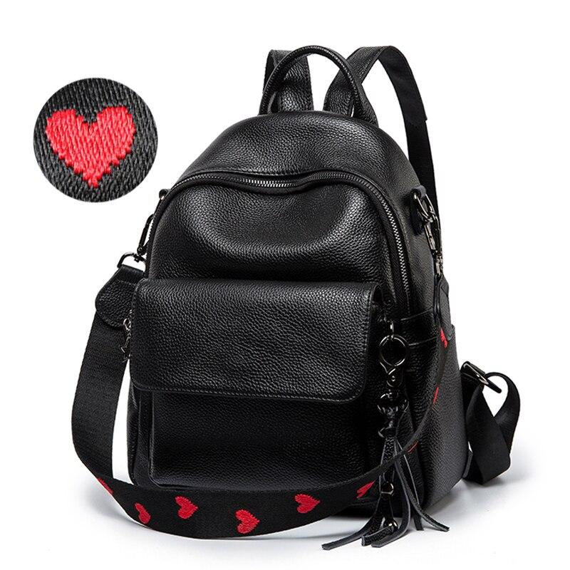 Miłość w kształcie serca w kształcie serca pasek kobiety plecak na co dzień 100% prawdziwa skóra bydlęca kobiet codziennie paczka czarny podróży plecak dziewczyna tornister Bookbag w Plecaki od Bagaże i torby na  Grupa 1
