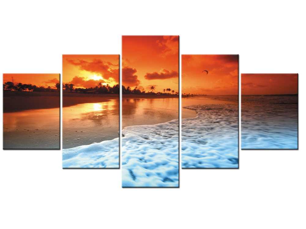 5 Panel Sunset Tropical Beach Ocean Sea Waves Art Silk Poster Print Skyline Landscape Wall Pictures Room Decor Framed J009-065