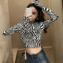 High Street Zebra Leopard Animal Print Shirts Women Turtleneck Long Sleeve Zebra Female Tops zebra print organizer box