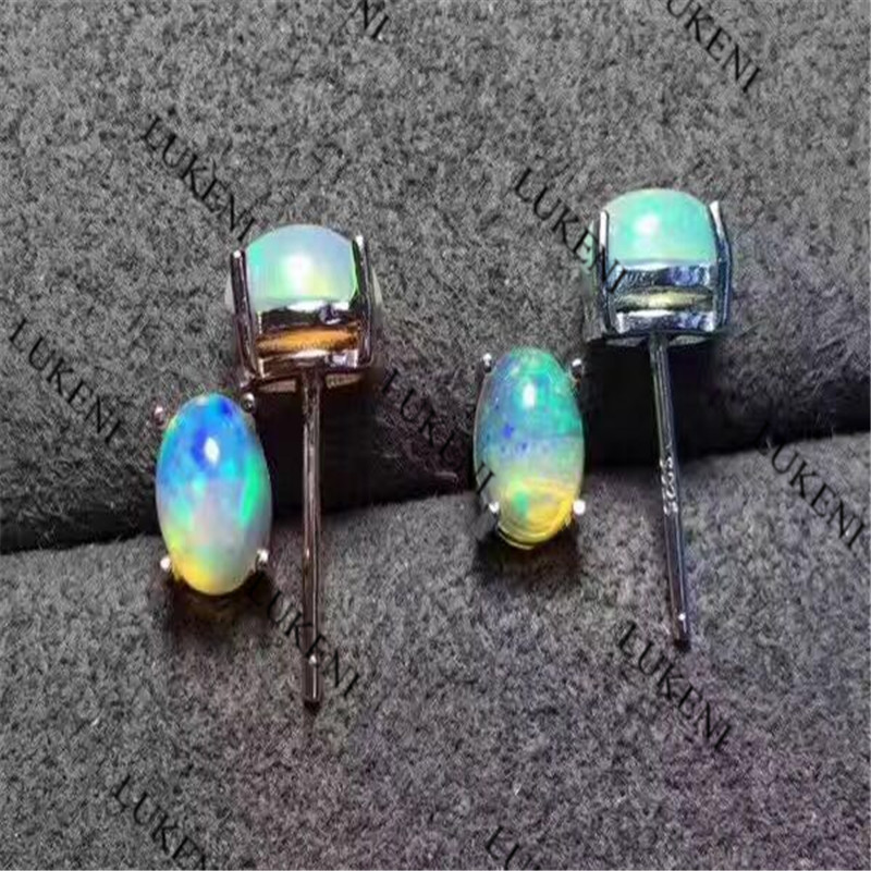Hot Popular Earrings Jewelry Earrings With White Oval Opal 4mm*6mm Earring Engagement Gifts For Ladies