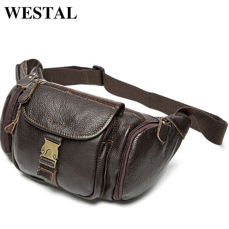 WESTAL Genuine Leather Waist Bag Men's Leather Fanny Pack Belt Bag Sling Men Bag Men Waist Pack Hasp Money Belt Pouch 9025 цена