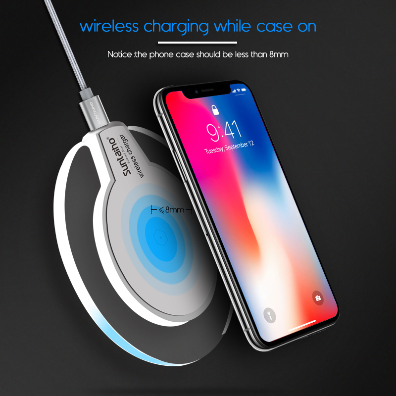 Quick Wireless Charger Suntaiho 5W 1A Quick Wireless Charging Stand for iPhone 8/X Samsung Note8/S8/S7/S6/Note5/edge Xiaomi mi9