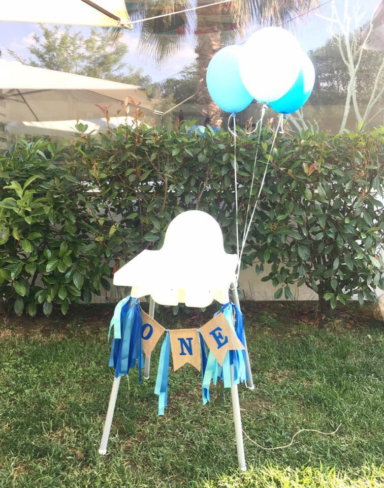 One Year Old Ribbon Dining Chair Linen Flag Bar Decorated Happy Birthday Decoration Party Kids Baby Shower Boy Girl Babyshower