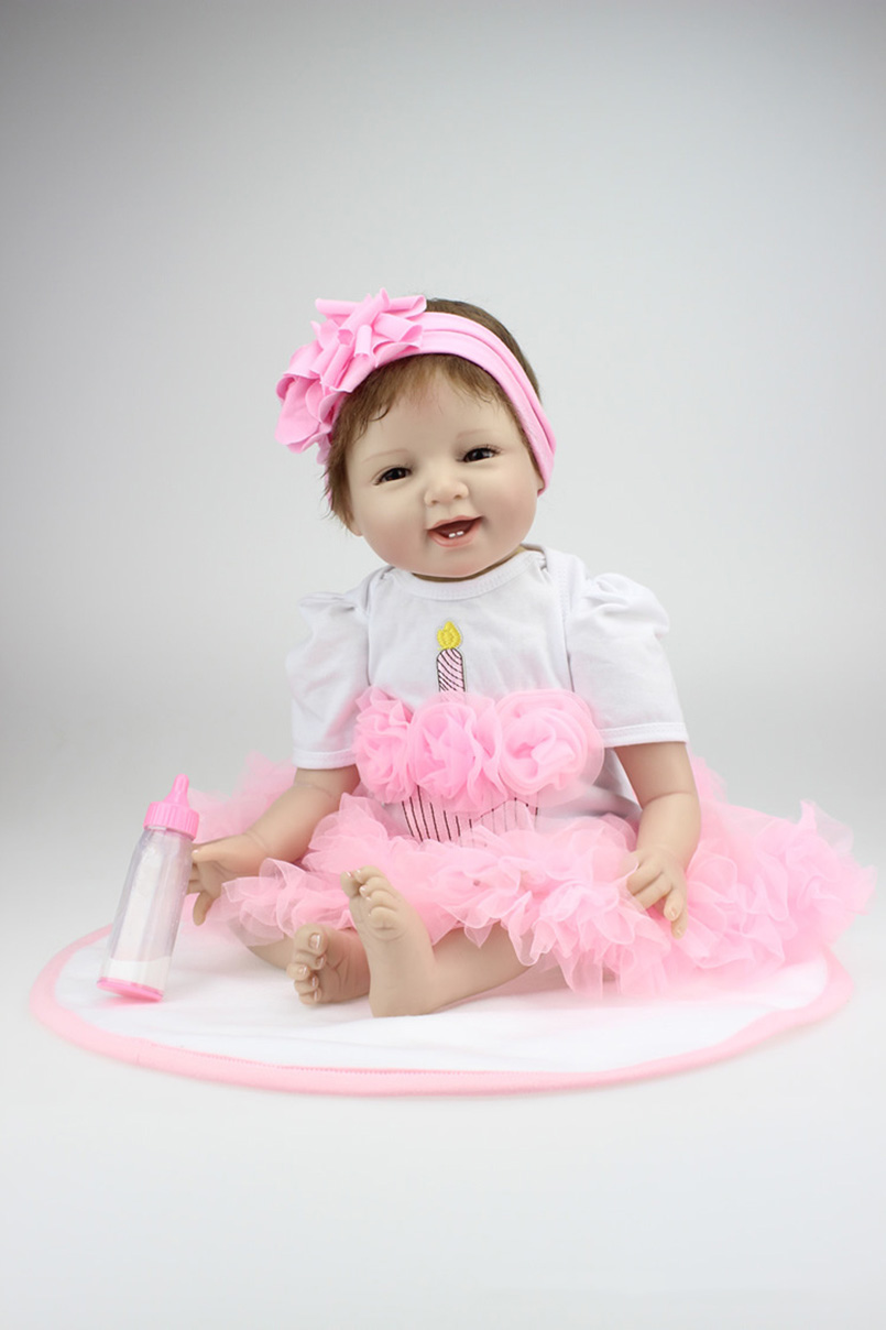 55cm reborn baby doll vinyl full silicone reborn girl Baby alive toys dolls Sleeping baby doll