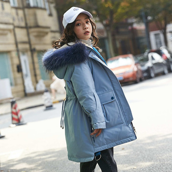 Girl Winter Down Jacket Parka 2019 Girls 80% Down Real Fur -30 Degrees Snow Wear Girl Thick Coat Nature Fur Down Children Coats