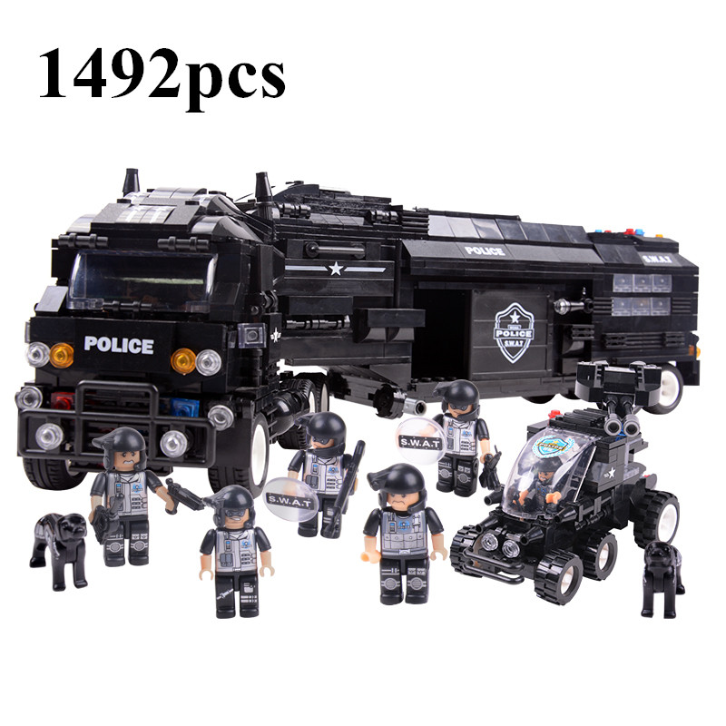 AIBOULLY SWAT World War II Troops military Building Blocks Sets Police Cars Model minis Kids Bricks Toys compatible with DIY xinlexin 317p 4in1 military boys blocks soldier war weapon cannon dog bricks building blocks sets swat classic toys for children