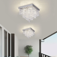 LukLoy Square Simple Aisle Living Room LED Ceiling Crystal Lamp Balcony Porch Corridor Aisle Light Creative Ceiling Lamp