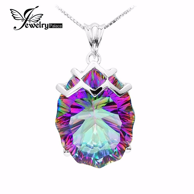 21ct Natural Vintage Rainbow Fire Mystic Topaz Gem Stone Solid 925 Sterling Silver Pendant Brand New Huge 2015 For Women Lover