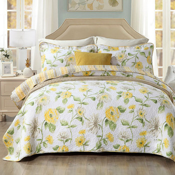 CHAUSUB Quality Quilt Set 3PCS Washed Cotton Quilts Quilted Bedspread Bed Cover Sheets Pillowcase Coverlet Set King Size
