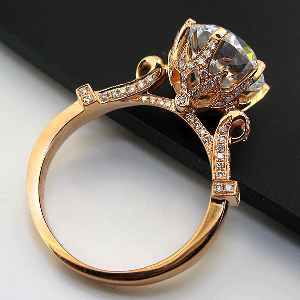 Amazing Big Stone Solid 14K Rose Gold Ring 5CT Synthetic Diamond