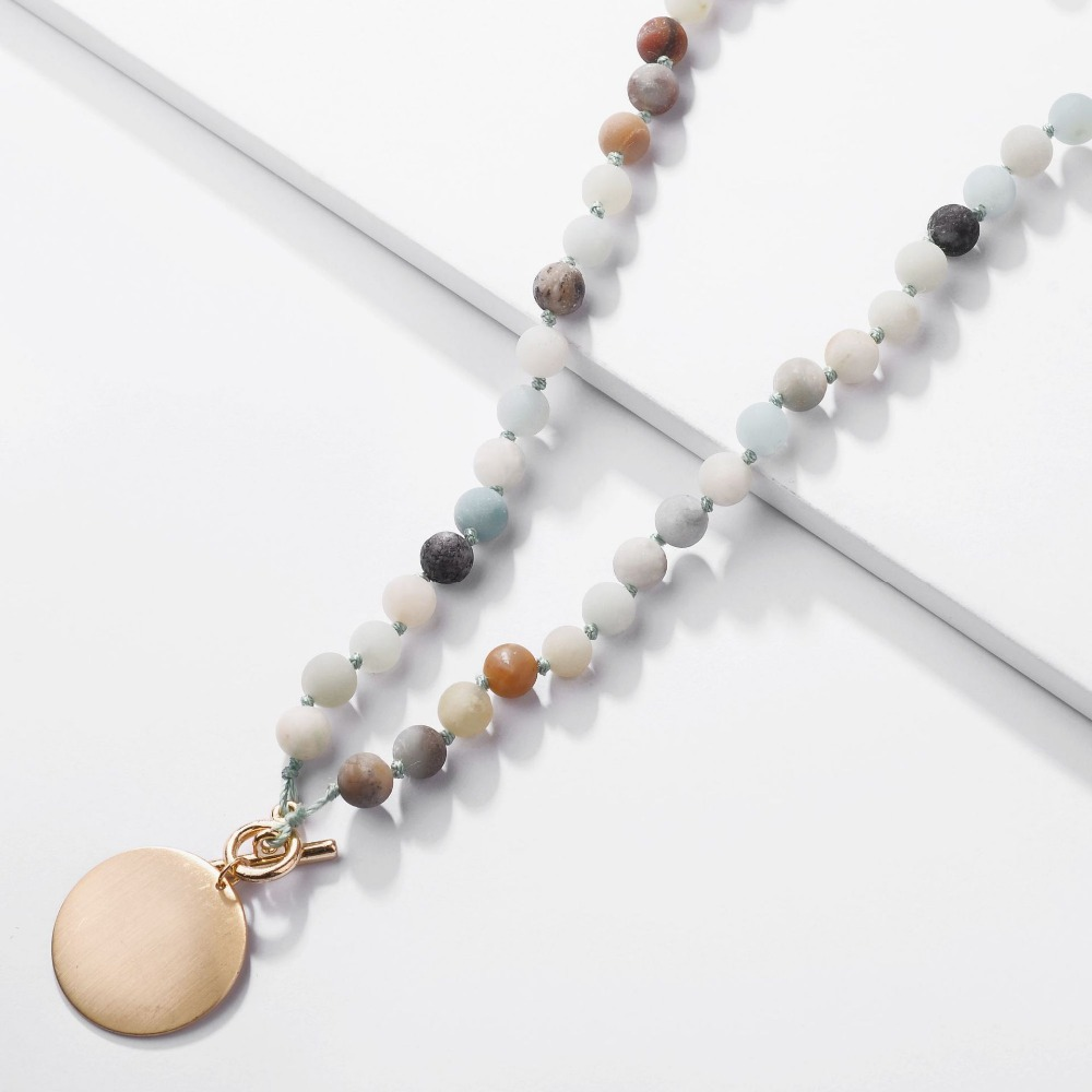 ZWPON 2018 New Natural Amazon Stone Monogram Blank Toggle Necklace for Women Personalized Choker Handmade Disc Initial Necklace
