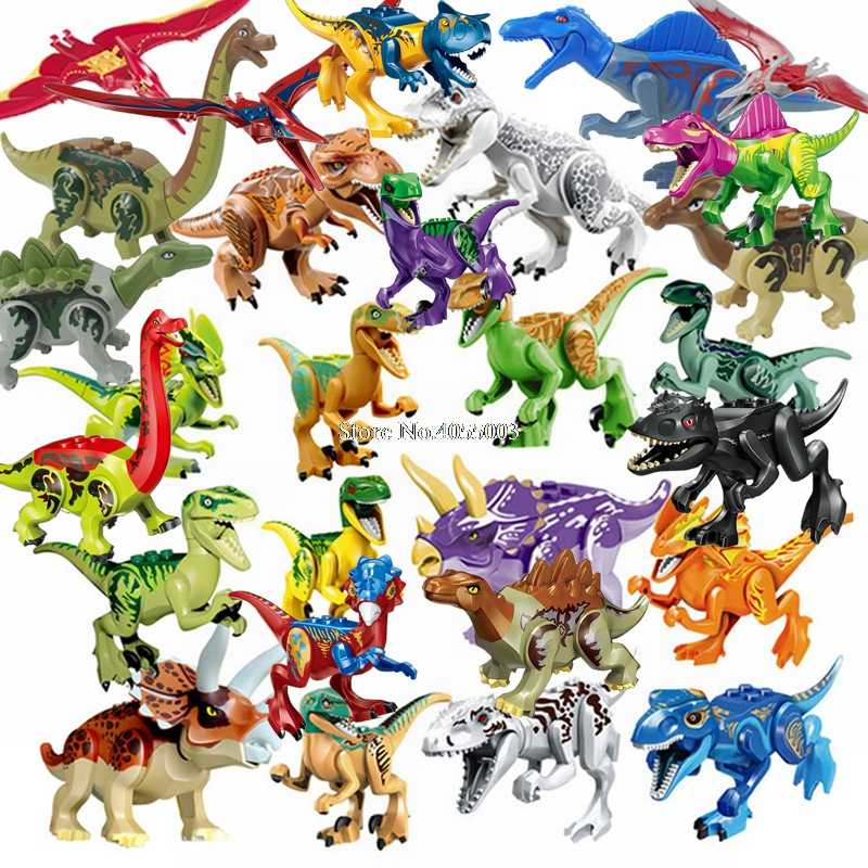 Lockings Jurassic Dinosaurs World Park Dinosaur Raptor protection zone Building Blocks Set Kids Toy juguetes Legoing Animals Kit