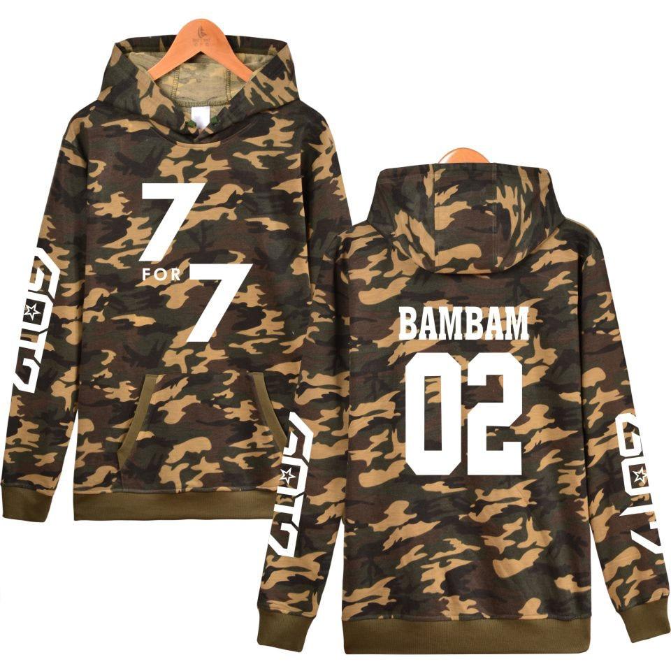 Frdun Tommy GOT7 K-Pop Korean Camouflage Hooded Women Winter Hoodies Sweatshirt Kpop Mens Casual Fashion Camouflage Clothes