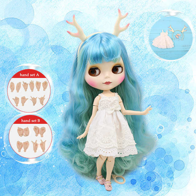 ICY DBS Blyth Doll 1/6 bule mix green hair nude doll with matte face joint body dress shoes dear headband hand set AB as gift