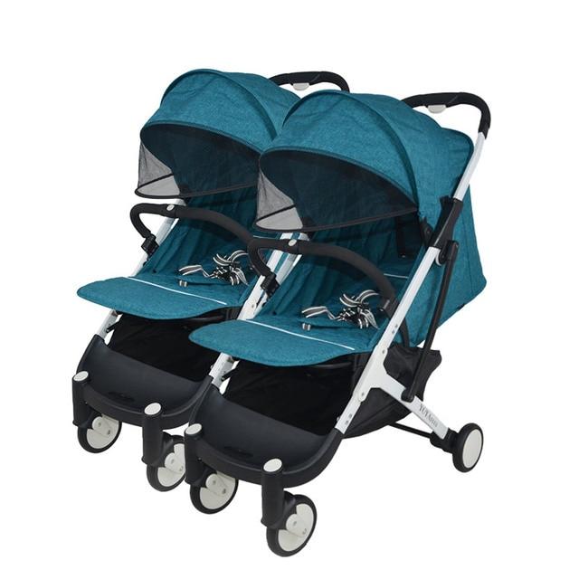 Yoyaplus Twin wandelwagen hoge landschap draagbare kinderwagen opvouwbare sit liggende kinderwagen dubbele wandelwagen kan worden op vliegtuig 1